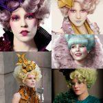 "Maquiagens de ""Effie Trinket"" Elizabeth Banks em Jogos Vorazes."