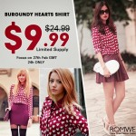 Promoção Romwe: Camisa Burgundy por $9,99