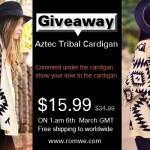 Sorteio: Cardigã Tribal Asteca da Romwe