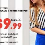 Promoção Romwe | Camisa Listrada por $9,99